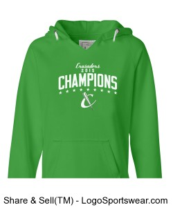 Ladies Brushed V-Neck Hooded Sweatshirt Design Zoom